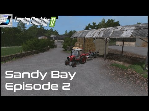 Farming Simulator 17 Sandy bay Lets Play Episode 2, Baling With the Massey Ferguson 698