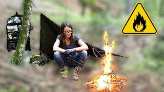 Sleeping underneath a Poncho in the forest