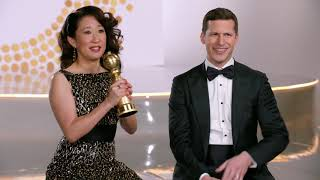 The 76th Annual Golden Globe Awards || Sandra Oh and Andy Samberg Soundbites || #SocialNews.XYZ