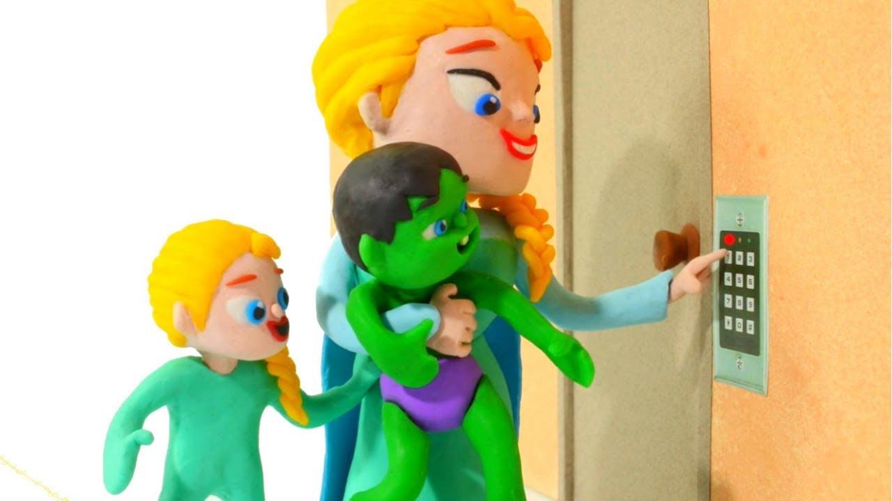 FROZEN ELSA OPENS THE SECURITY DOOR ❤ Spiderman, Hulk & Frozen Play Doh Cartoons For Kids
