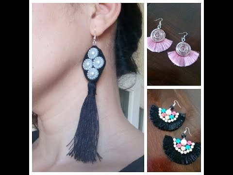 3f07135fafb4 3 tipos de Aretes BORLAS  Aretes de hilo Pendientes  Tassel Earrings Como  hacer How to make DIY - YouTube