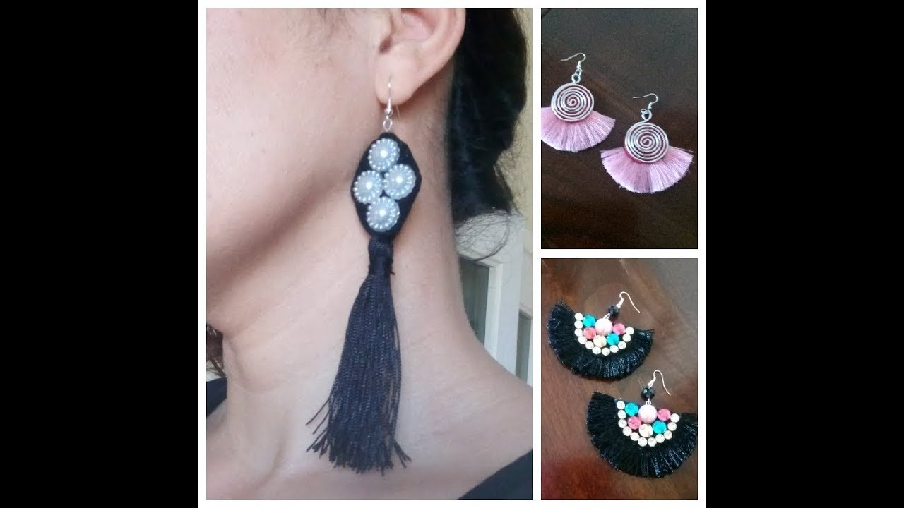 32fe779c005a 3 tipos de Aretes BORLAS  Aretes de hilo Pendientes  Tassel Earrings ...