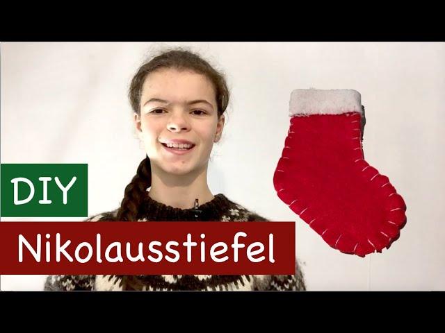DIY Nikolausstiefel Nähen   Einfache Weihnachts- und Adventsdeko zum Selbermachen Bastelanleitung