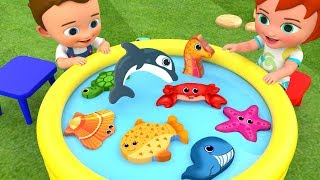Learn Sea Animals Names for Children with Little Baby Boy & Girl Fun Fishing Kids Toys Educational