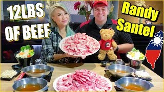 12LBS of Beef Shabu! in Taiwan w/ Randy Santel | Ultimate Hotpot Challenge! | 台湾大胃王挑戰 #RainaisCrazy