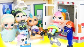 LOL Surprise Fuzzy Pets + Doctor Lils Ambulance Accident in Hospital | Toy Egg Videos