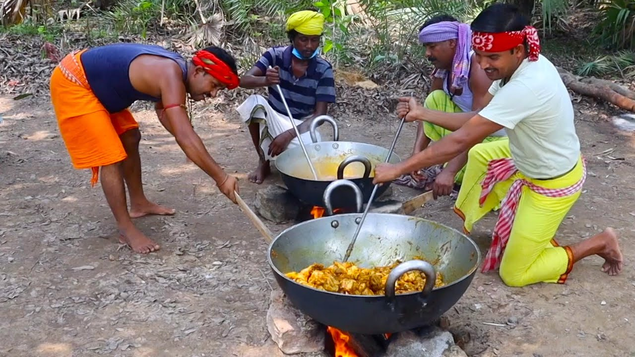 Delicious Chicken curry mixed daal and potato fry cooking for tribe village people   village food