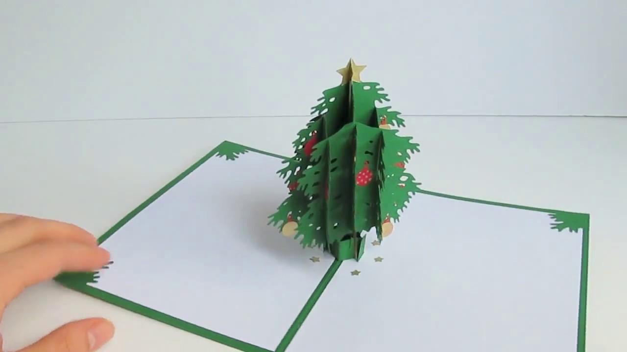 Как сделать раскладную елку внутри открытки