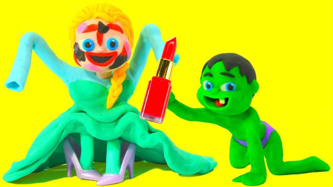 FROZEN ELSA PLAYS WITH MAKE UP ❤ Spiderman, Hulk & Frozen Elsa Play Doh Cartoons For Kids