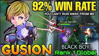 Gusion 92% Win Rate - Top 1 Global Gusion BLACK BOY - Mobile Legends