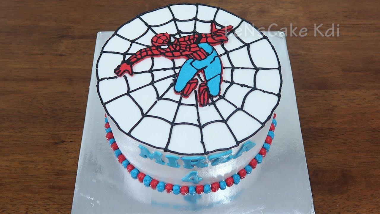 Kue Uang Tahun Spiderman Dekorasi Kue Ultah Anak Anak Cake Tart 1 Lenscake Kdi Youtube