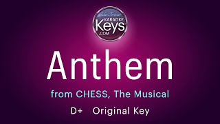 Anthem.  D+  from CHESS, the Musical  (karaoke piano) WITH LYRICS