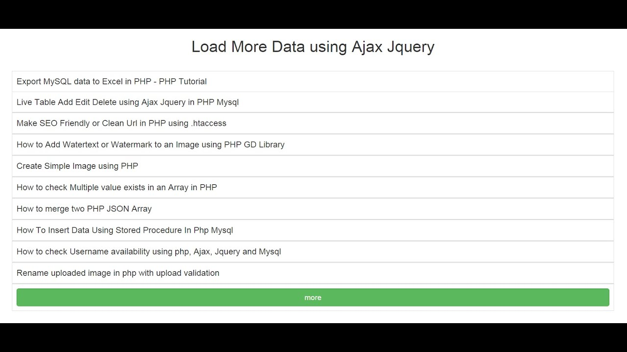 Load More Data using Ajax Jquery with PHP MySql