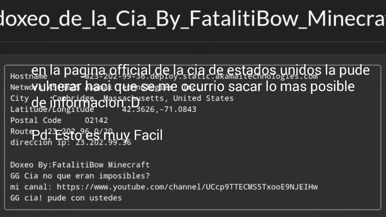 Dox De La Cia ¿Posible? - Video - ViLOOK
