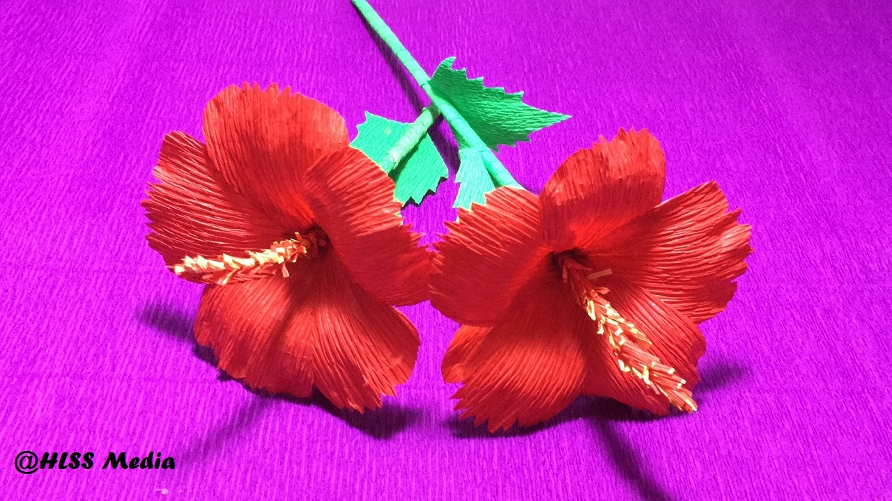 How to make diy hibiscus crepe paper flower tutorialshibiscus how to make diy hibiscus crepe paper flower tutorialshibiscus flower origami craft tutorial izmirmasajfo