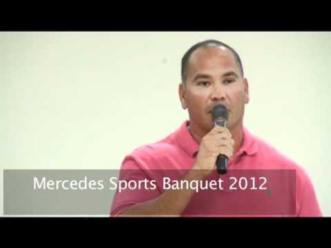 Cardinals Head Football Coach Manny Gomez speaks at Tigers Baquet
