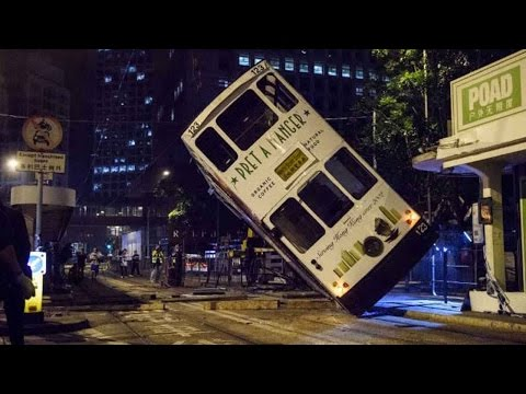 14 injured in Hong Kong tram flip accident