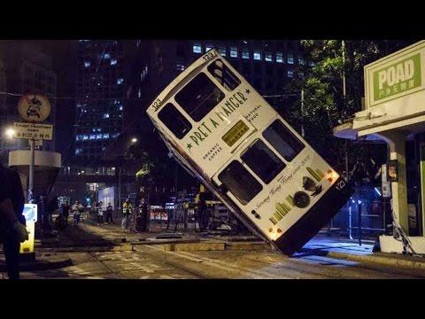 14 injured in Hong Kong tram flip accident