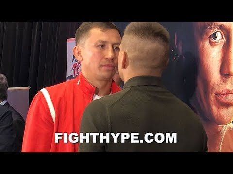 GOLOVKIN STARES DOWN DEREVYANCHENKO AT FIRST FACE OFF; DEAD SERIOUS AS THEY SIZE EACH OTHER UP