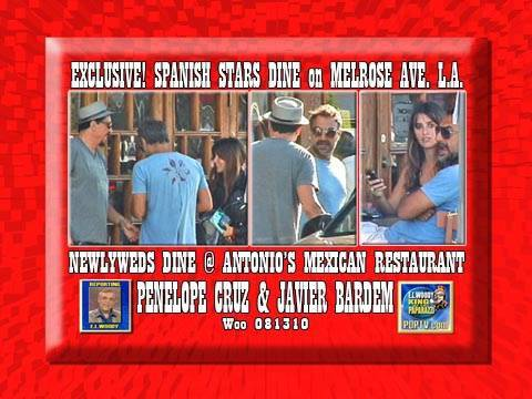 Penelope Cruz & Javier Bardem Dine Outside Antonios 081310