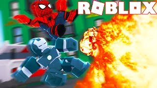I AM WAR MACHINE AND I TEAM UP WITH SPIDERMAN in ROBLOX SUPERHERO TYCOON