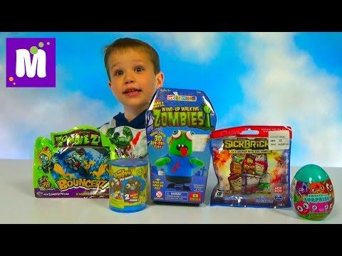 Монстрики и зомби ходит ножками распаковка игрушек сюрпризы Unboxing Monsters and Zombie funny toys