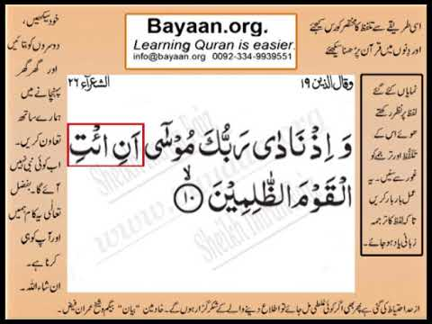 Quran in urdu Surrah 026 Ayat 010 Learn Quran translation in Urdu Easy Quran Learning