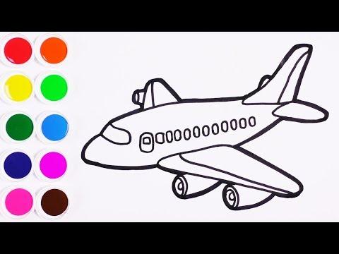 Como Dibujar y Colorear Un AVION de Arco Iris - Learn Colors ...