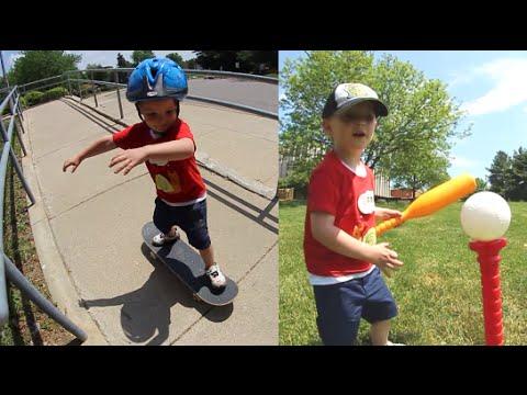 Father Son Skateboard & Baseball Time!