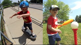 One of AndrewSchrock's most viewed videos: Father Son Skateboard & Baseball Time!