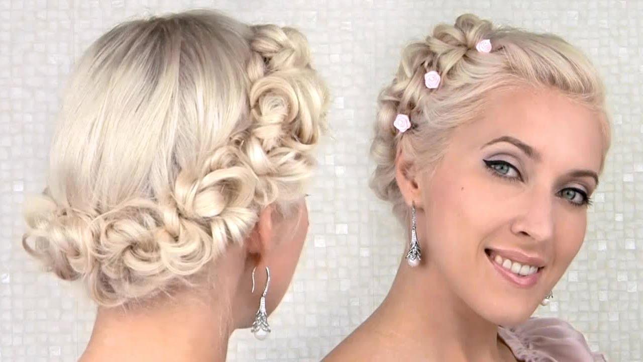 easy prom/wedding updo hairstyle for medium long hair tutorial