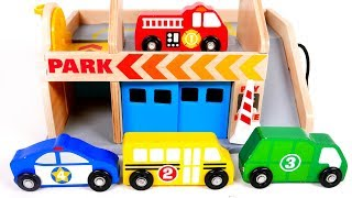 Learn Colors and Counting for Toddlers with Toy Vehicles Garage Parking and Car Wash Service for Kid