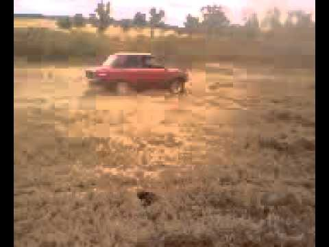 Mazda 1300 chewing up the dirt