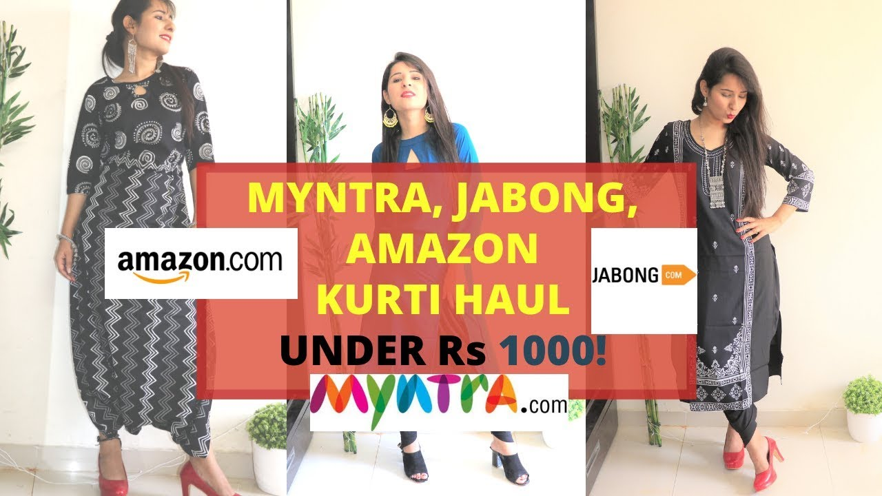 60091aa98f MYNTRA, JABONG, AMAZON HUGE KURTI HAUL UNDER Rs 1000 |INDIAN ETHNIC WEAR  FOR COLLEGE/OFFICE WEAR