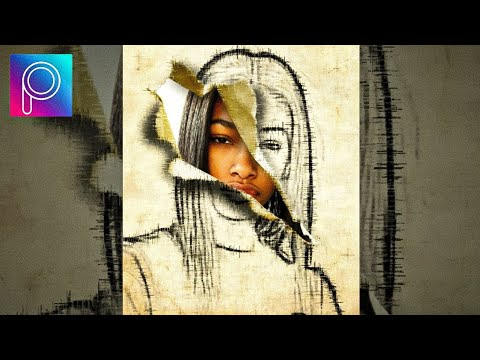 "Cara Edit Foto Efek Sketch Paper Torn_""picsart tutorial ..."