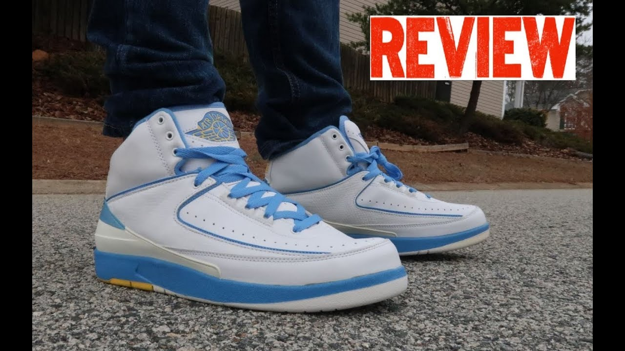 3831634f5abf Air Jordan 2 Melo University Blue Retro Sneaker Review On Feet - YouTube