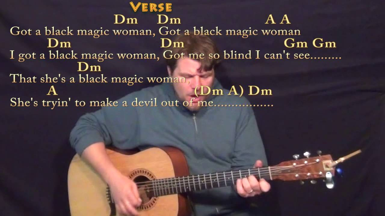 Black Magic Woman Guitar Cover Lesson In Dm With Chordslyrics