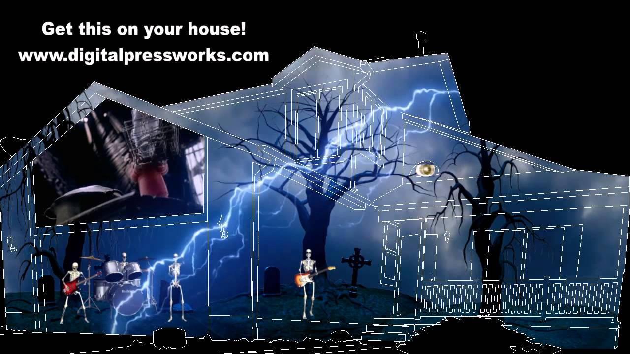 the nightmare before christmas rocks halloween house projection video sample - Nightmare Before Christmas Outdoor Halloween Decorations