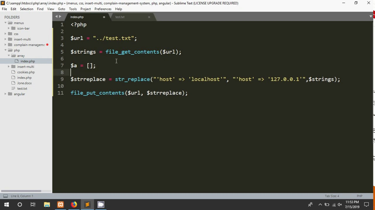 Replace string in text file using PHP php#56
