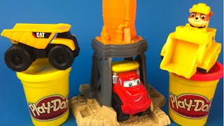 Playdoh Gravel Grinder Yard Set - Mighty Machines Dump Truck Construction Truck Toys for kids