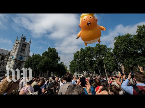 Britain greets Trump with protests