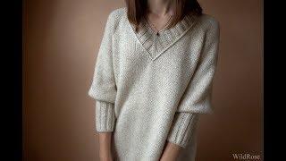 Вязаный пуловер регланом. Описание свитера  ♥ Вяжем спицами ♥  Wild Rose ♥ Вязание - это просто ♥