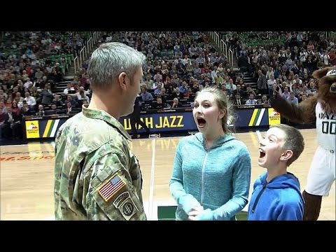 Kids Surprised At Basketball Game By Military Dad's Homecoming