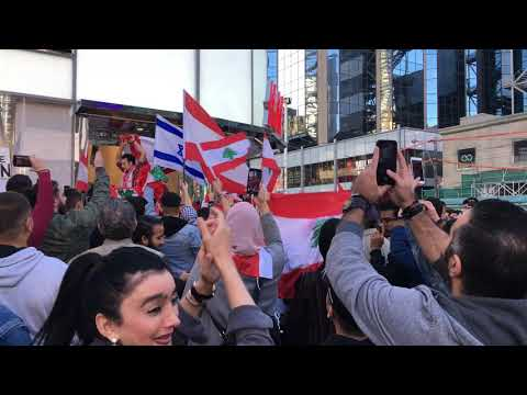 Downtown Toronto - Lebanese Anti-Government Protesters React To Appearance Of Israeli Flag - 4K