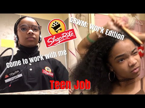 GRWM FOR WORK + COME TO WORK WITH ME!! TEEN JOB!!