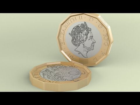 3Ds Max New British Pound Coin modeling tutorial
