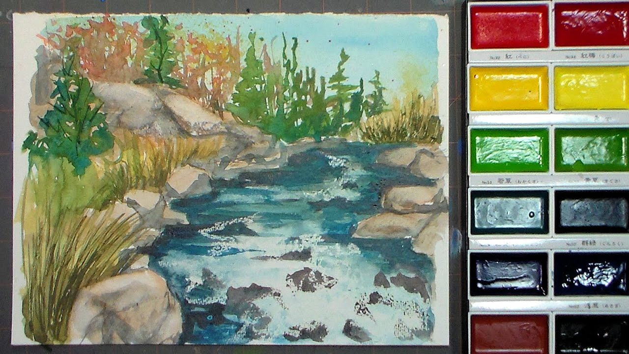 Rocky stream painting with gansai tambi watercolors youtube for Video tutorial on watercolor painting