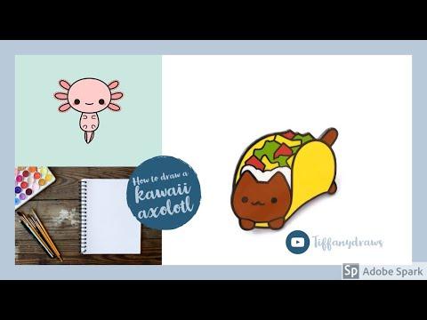 How to draw a kawaii axolotl(speed draw)