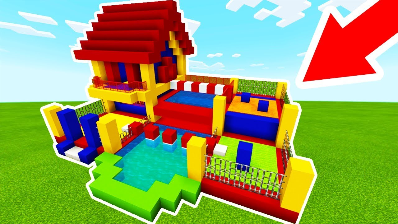 Minecraft tutorial how to make a bouncy house house with a parkour course bouncy house - Make a house a home ...