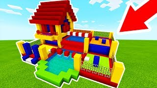 """Minecraft Tutorial: How To Make A Bouncy House House With a Parkour Course """"Bouncy House Tutorial"""""""